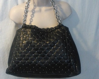 Tiffany & Co Authentic black leather  with silver studded Purse.