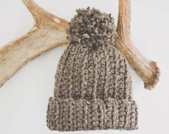 Brown Hat Pom Pom | Slouch Beanie | Crocheted Hat | Chunky Hat | Wool Blend | Adult | Handmade | Soft | Barley | Tan