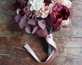 Victorian Sola Flower Bouquet // Wood Flower Bouquet, Keepsake Wood Flower Wedding Bouquet, Bridal Bouquet