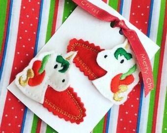 Christmas Unicorn Hair Clips Slides Felties Gift for girl Birthday Stocking Fillers Stuffers Advent Calendar Cracker gifts inserts