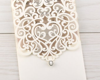 SAMPLE * Josephine Laser Cut Wedding Invitation, Nude Wedding Invites, Pocket Laser