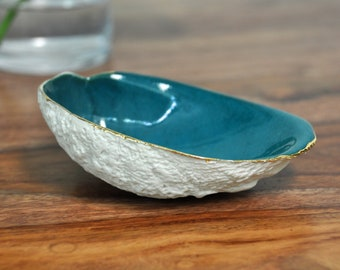 Teal Gold Trim Abalone Bowl -  Blue Ring Dish, Ceramic Ring Dish,Trinket Dish , Gold Small Bowl