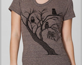 Tree T-shirt Women Owl Dream Catcher Tree Owls Tee Shirt Women's T Shirt American Apparel womens tshirt