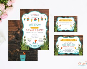 Fishing Themed Baby Shower Invitation Set, Gender Neutral Baby Shower