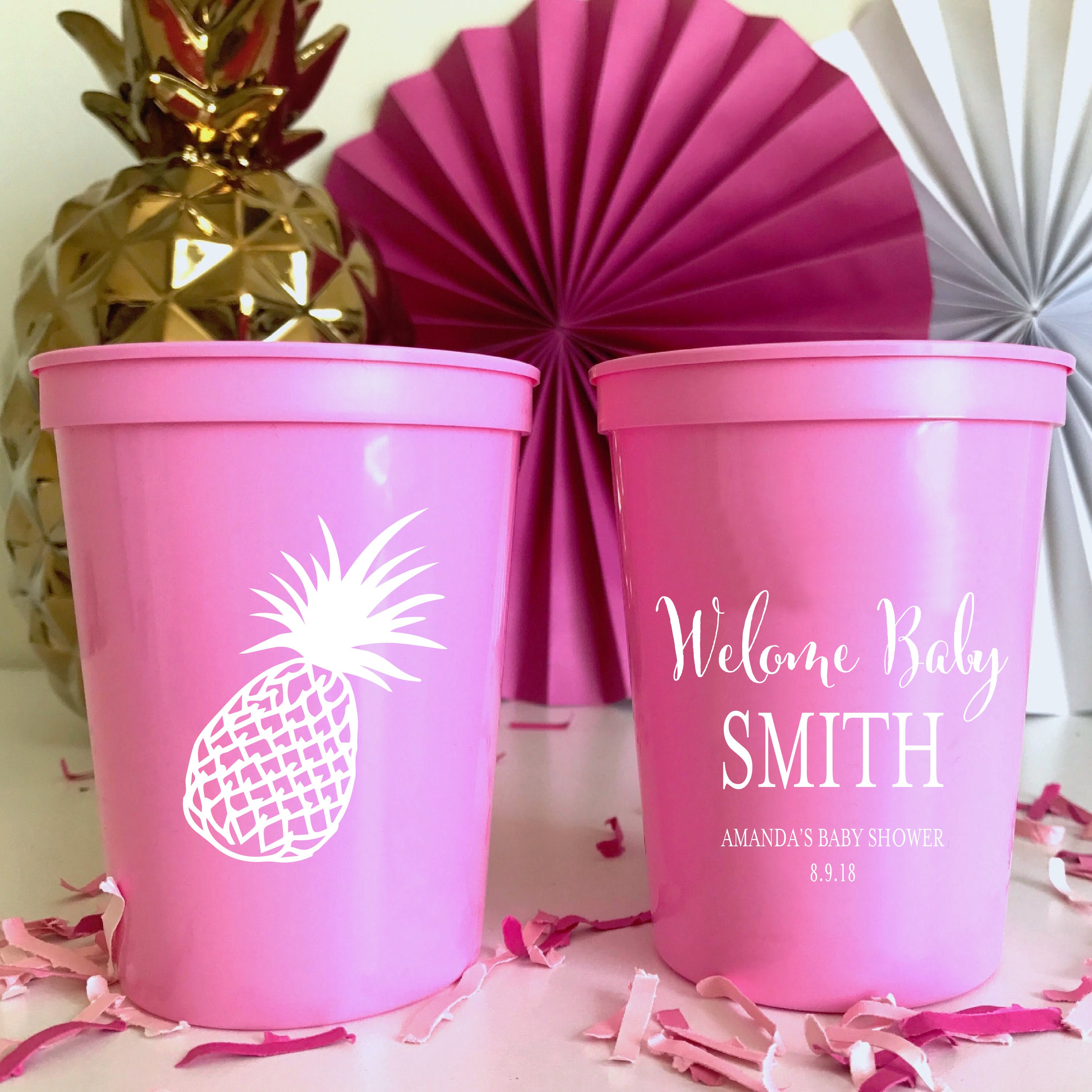 Welcome Baby Personalized Stadium Plastic Cups Baby Shower