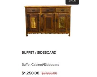 Rustic Buffet Sideboard -Reclaimed Solid Wood