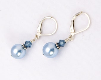 Light Blue Earring Bridesmaid Gift with Swarovski® Pearl, Drop Earring, Sterling Silver Lever Back Clip On French Wire