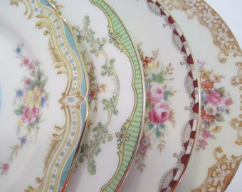 Vintage Mismatched China Dessert Plates, Bread Plates for Tea Party, Bridal Luncheons, Showers, Hostess Gift, Bridesmaid Gift-Set of 4