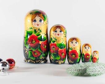 Matryoshka Poppies on Gold Russian Nesting Doll