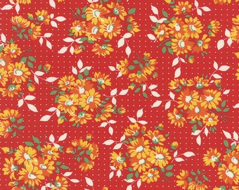 By the HALF YARD - Bread n' Butter by Sandy Klop for Moda, #21690-18 Dotted Daisy Red, Yellow and Orange Floral Bunches on White Dotted Red