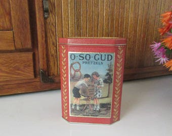 O – So – Gud Pretzels Tin – Uneeda Bakers Collectible Tin – National Biscuit Company Vintage Metal Tin