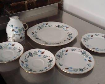 vintage Colclough Linden Sandwich Tea Set Teaset Bone China Blue autumn