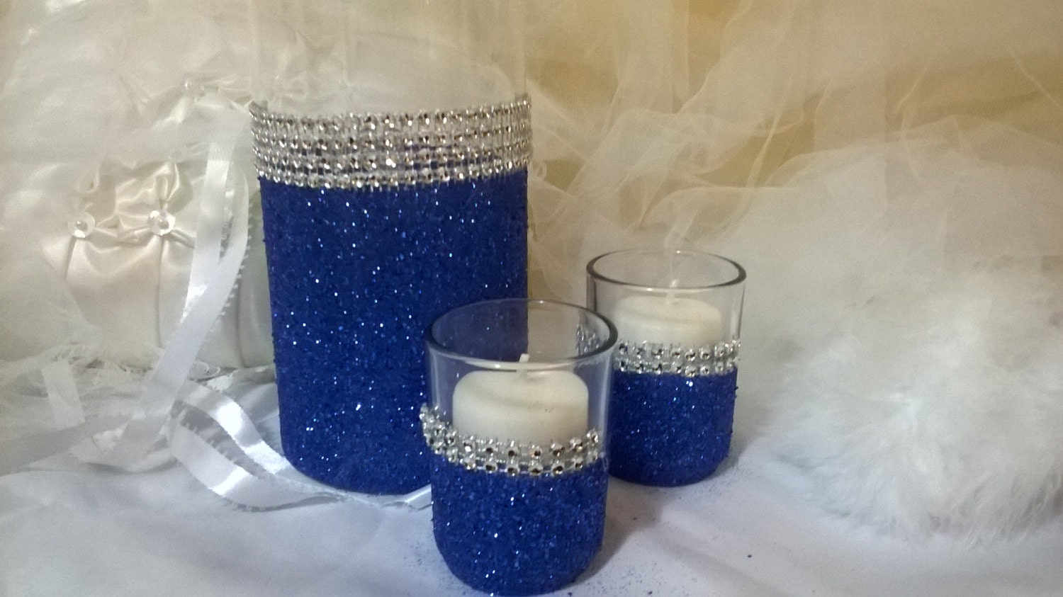 royal blue glitter vase wedding centerpiece bridal shower