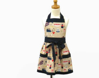 Girl's Baking Themed Apron with Optional Chef Hat, Girl's Play Kitchen Apron, Girl's Baking Supplies Apron, Personalized Gift Little Girl