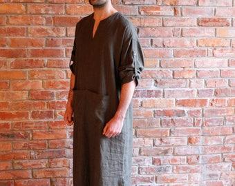 Linen kaftan Mens Caftan Khaki Loungewear Long shirt  Homewear Linen Robe Linen Beach wear Medium to Large Ready to ship