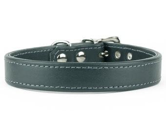 Soft School Grey Leather Dog Collar