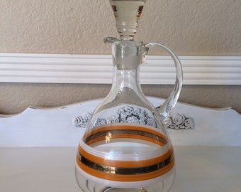 Vintage Liquor Decanter With Handle Clear Glass With Gold Trim Decanter