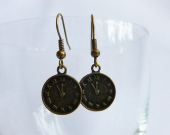 Small Clock Face Clock Dial Steampunk Bronze Coloured Earring Jewellery