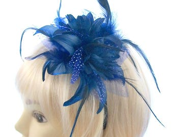 Royal Blue long feather fascinator headband, Weddings, Races, Prom