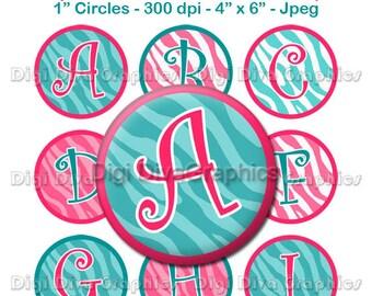 Zebra Print Alphabet Bottle Cap Images 1 Inch Circles Digital JPG A-Z - Instant Download - BC1060