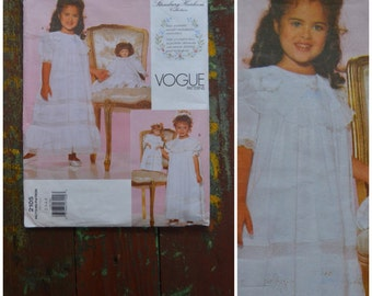 Vintage pattern, 1990's Sewing Pattern, Girls occasion dress, Vogue Pattern 2105 with transfer, Strasburg Heirloom Collection, Age 2-3-4-5,