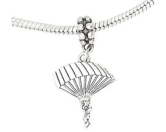 Sterling Silver Parachute Skydiving Pendant Necklace (Comes With an 18