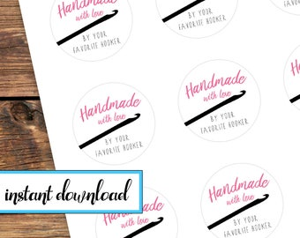 printable stickers, Handmade with love by your favorite hooker, crochet gift stickers, avery round labels, pink, black, white, crochet