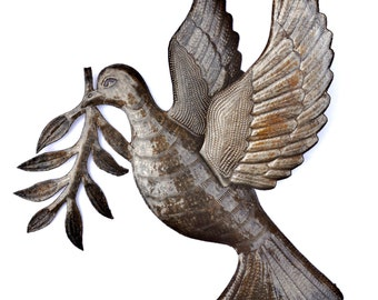 """Dove of Peace Recycled Metal Wall Art Birds from Haiti, Fair Trade 3 - Dimensional Winged Bird 17"""" x 16"""""""