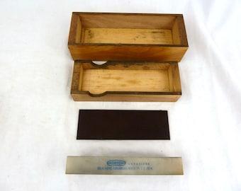 "VTG Norton Abrasives HB-6 Hard Arkansas Oilstone in original wood case 6"" x 2"""
