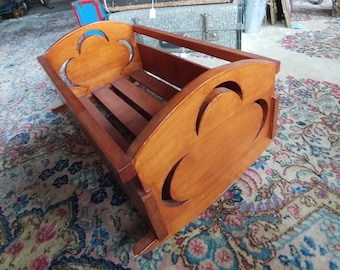 1950's Wooden Doll Cradle. Doll Crib, Doll Furniture, Doll Bedding