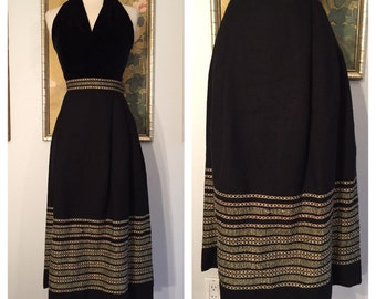 Unique 1950s Woven Skirt by Chamberlin's Handwovens -- Glittering Gold, Silver and Red Design
