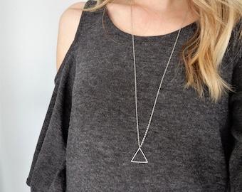 Silver Triangle Necklace   Arrow Necklace   Pendant Necklace   Triangle Shape   Minimal Necklace   Simple Necklace   Silver Triangle