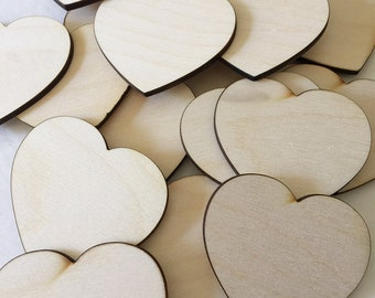 50 -  2 inch wood hearts - unfinished wooden hearts for wedding and parties