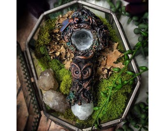 Electroformed Owl & Knotted Tree Pipe - Sculpted Woodland Copper and Glass Pipe - Mystical Forest Electroformed Copper Pipe
