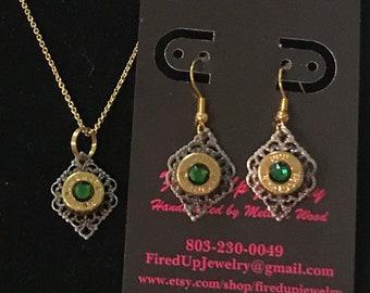 Graduation 9mm bullet necklace & earrings