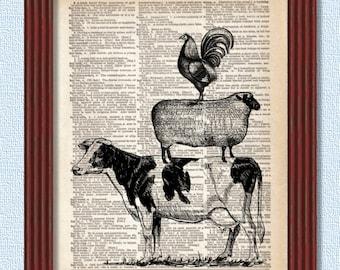 BUY 2 GET 1 FREE Farm Animals Stacked Dictionary Art Print Cow Sheep Lamb Bird Chicken Hen Farm Barnyard Barn Decor baby Wall illustration