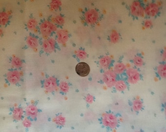 SALE -  cream and pink roses floral cotton fabric