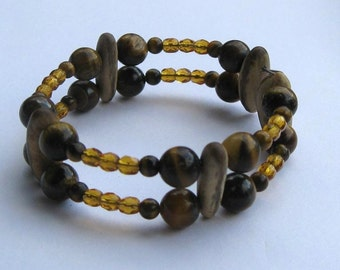 Hawaiian Royal Poinciana seed and tigereye bracelet - handmade in Hilo, Hawaii