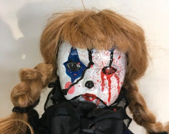 Creepy clown doll, OOAK Halloween prop, 16 inch