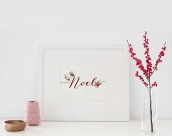 Noel print, Christmas mantel decor, Printable Christmas decor, Christmas Art, Christmas print, Winter Decor, Winter wall art, Holiday decor