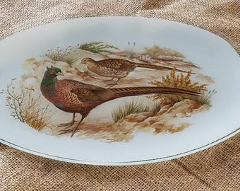 Stunning Vintage Pheasant Glass Tray!