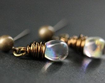BRONZE Earrings - Iridescent Clear Teardrop Earrings. Dangle Earrings. Post Earrings. Handmade Jewelry.