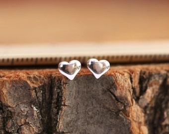 Sterling Silver Heart Earrings|Sterling Silver Heart Stud Earrings|Small Heart Earrings|Heart Earrings|Silver Heart Earrings|Gift for Her