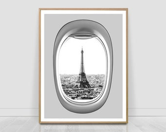 Eiffel tower seen from airplane window, famous place poster,Paris print, architecture, Travel, black and white, city, printable photography,