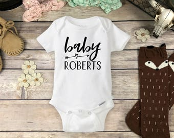 Arrow Name Onesies® Brand or Carter's® Bodysuit or Infant T-ShirtPregnancy Reveal Last Name Boho Baby Shower Gift Announcement Hipster Onsie