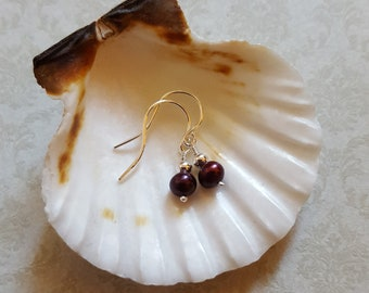 Gorgeous Purple Pearls 925 Sterling Silver Earrings
