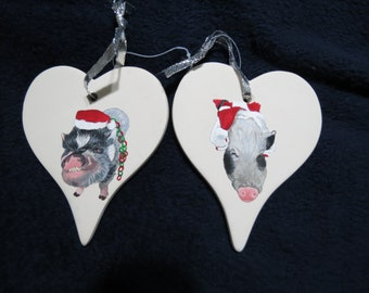 Pet Piggy Portrait Memorial Ornament Hand Painted and Made to Order by Pigatopia