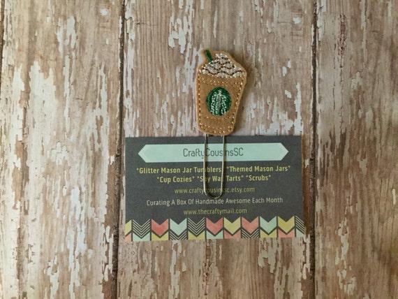 Starbucks Coffee Paper Clip. Starbucks planner clip. Coffee planner clip. Cold coffee planner clip. Frappucino planner clip