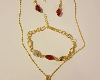 Red/gold necklace/bracelet/earring set