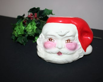 Vintage Santa Planter, Santa Candy Cane Holder